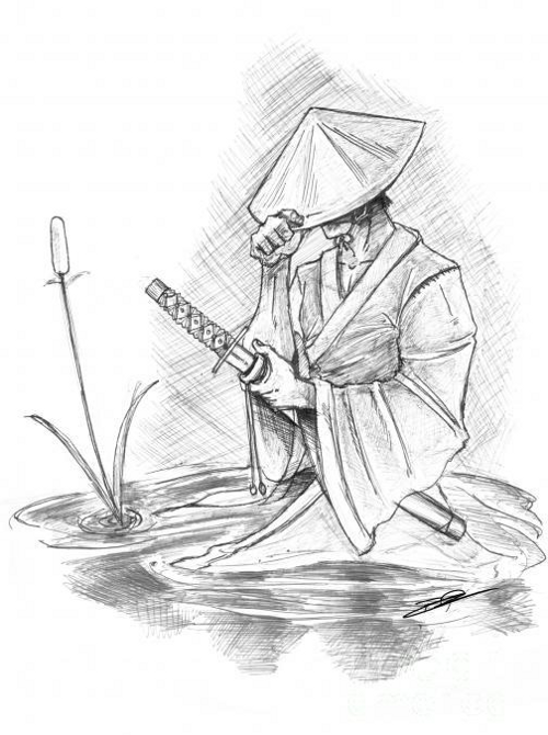 Samurai in Hat Sketch