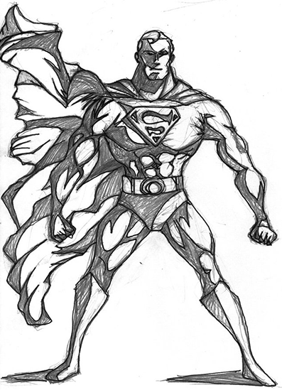 Superman Bold Stance Sketch